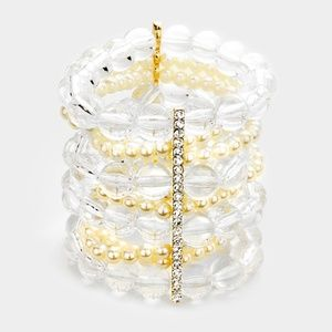 Clear Lucite Beaded Stone Stretch Bracelet